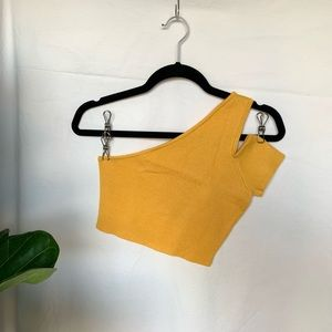 Misguided knit one shoulder crop top